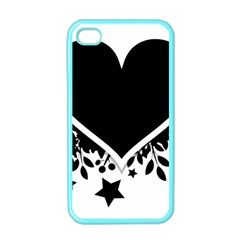Silhouette Heart Black Design Apple Iphone 4 Case (color) by Nexatart
