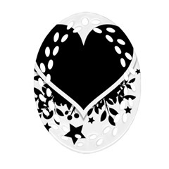 Silhouette Heart Black Design Oval Filigree Ornament (two Sides) by Nexatart