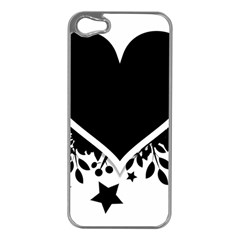 Silhouette Heart Black Design Apple Iphone 5 Case (silver) by Nexatart