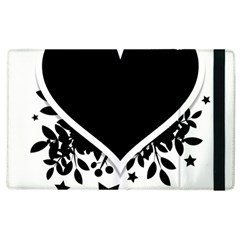 Silhouette Heart Black Design Apple Ipad 3/4 Flip Case by Nexatart