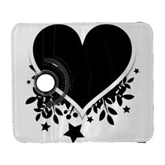 Silhouette Heart Black Design Galaxy S3 (flip/folio) by Nexatart