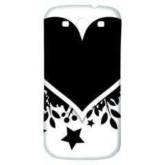 Silhouette Heart Black Design Samsung Galaxy S3 S Iii Classic Hardshell Back Case by Nexatart