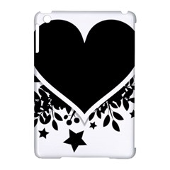 Silhouette Heart Black Design Apple Ipad Mini Hardshell Case (compatible With Smart Cover) by Nexatart