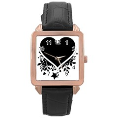 Silhouette Heart Black Design Rose Gold Leather Watch  by Nexatart