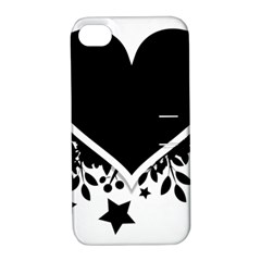 Silhouette Heart Black Design Apple Iphone 4/4s Hardshell Case With Stand by Nexatart