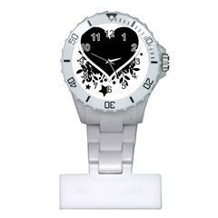Silhouette Heart Black Design Plastic Nurses Watch by Nexatart