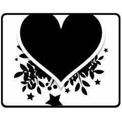 Silhouette Heart Black Design Double Sided Fleece Blanket (medium)