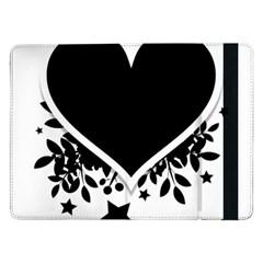 Silhouette Heart Black Design Samsung Galaxy Tab Pro 12 2  Flip Case by Nexatart