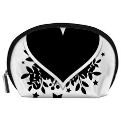 Silhouette Heart Black Design Accessory Pouches (large)