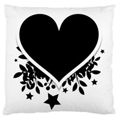 Silhouette Heart Black Design Large Flano Cushion Case (two Sides) by Nexatart