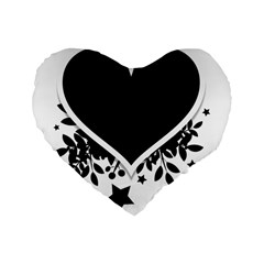 Silhouette Heart Black Design Standard 16  Premium Flano Heart Shape Cushions by Nexatart