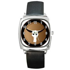 Logo The Cow Animals Square Metal Watch