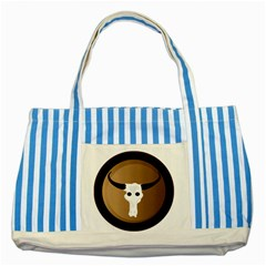 Logo The Cow Animals Striped Blue Tote Bag