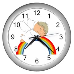 Angel Rainbow Cute Cartoon Angelic Wall Clocks (silver)  by Nexatart