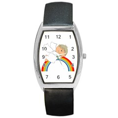Angel Rainbow Cute Cartoon Angelic Barrel Style Metal Watch by Nexatart