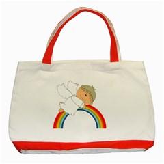 Angel Rainbow Cute Cartoon Angelic Classic Tote Bag (red)