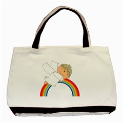 Angel Rainbow Cute Cartoon Angelic Basic Tote Bag (two Sides) by Nexatart