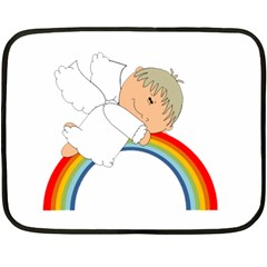 Angel Rainbow Cute Cartoon Angelic Double Sided Fleece Blanket (mini)