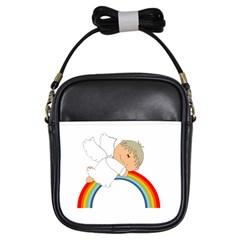 Angel Rainbow Cute Cartoon Angelic Girls Sling Bags by Nexatart