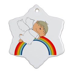 Angel Rainbow Cute Cartoon Angelic Snowflake Ornament (two Sides) by Nexatart