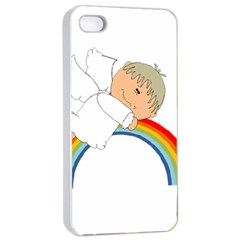 Angel Rainbow Cute Cartoon Angelic Apple Iphone 4/4s Seamless Case (white) by Nexatart