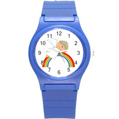 Angel Rainbow Cute Cartoon Angelic Round Plastic Sport Watch (s) by Nexatart