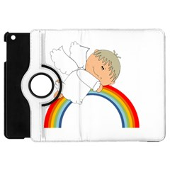 Angel Rainbow Cute Cartoon Angelic Apple Ipad Mini Flip 360 Case by Nexatart