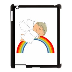 Angel Rainbow Cute Cartoon Angelic Apple Ipad 3/4 Case (black) by Nexatart