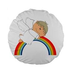 Angel Rainbow Cute Cartoon Angelic Standard 15  Premium Round Cushions