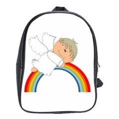 Angel Rainbow Cute Cartoon Angelic School Bags (xl)  by Nexatart