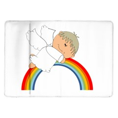 Angel Rainbow Cute Cartoon Angelic Samsung Galaxy Tab 10 1  P7500 Flip Case