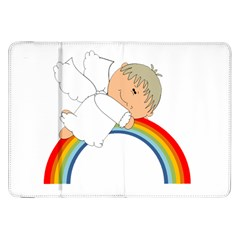Angel Rainbow Cute Cartoon Angelic Samsung Galaxy Tab 8 9  P7300 Flip Case by Nexatart
