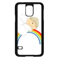 Angel Rainbow Cute Cartoon Angelic Samsung Galaxy S5 Case (black) by Nexatart