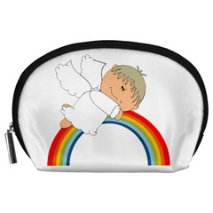 Angel Rainbow Cute Cartoon Angelic Accessory Pouches (large)