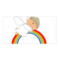 Angel Rainbow Cute Cartoon Angelic Satin Shawl by Nexatart