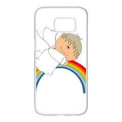Angel Rainbow Cute Cartoon Angelic Samsung Galaxy S7 Edge White Seamless Case by Nexatart
