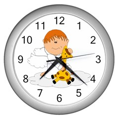 Pet Giraffe Angel Cute Boy Wall Clocks (silver)