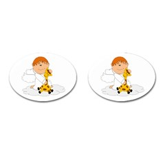 Pet Giraffe Angel Cute Boy Cufflinks (oval) by Nexatart