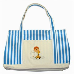 Pet Giraffe Angel Cute Boy Striped Blue Tote Bag