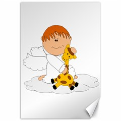 Pet Giraffe Angel Cute Boy Canvas 12  X 18   by Nexatart