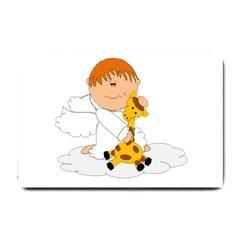 Pet Giraffe Angel Cute Boy Small Doormat  by Nexatart