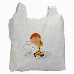 Pet Giraffe Angel Cute Boy Recycle Bag (one Side) by Nexatart