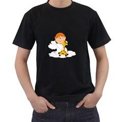 Pet Giraffe Angel Cute Boy Men s T Shirt (black) by Nexatart