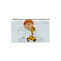 Pet Giraffe Angel Cute Boy Cosmetic Bag (small)