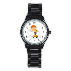 Pet Giraffe Angel Cute Boy Stainless Steel Round Watch by Nexatart