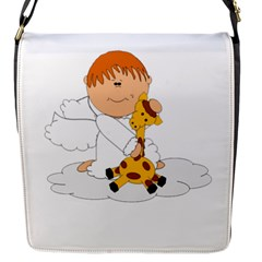 Pet Giraffe Angel Cute Boy Flap Messenger Bag (s)