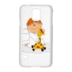 Pet Giraffe Angel Cute Boy Samsung Galaxy S5 Case (white) by Nexatart