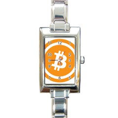 Bitcoin Cryptocurrency Currency Rectangle Italian Charm Watch