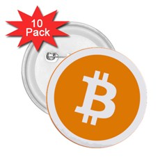 Bitcoin Cryptocurrency Currency 2 25  Buttons (10 Pack)