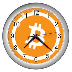 Bitcoin Cryptocurrency Currency Wall Clocks (silver)  by Nexatart
